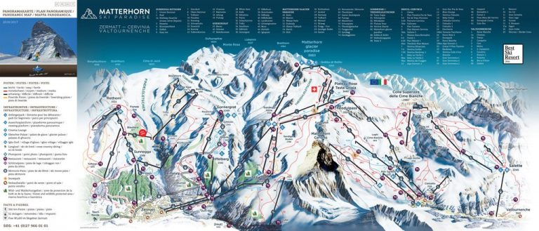 Route map of the resort of Zermatt, Switzerland