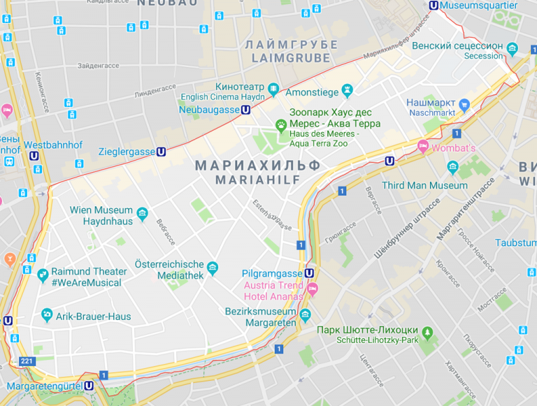 District Mariahilf on the map