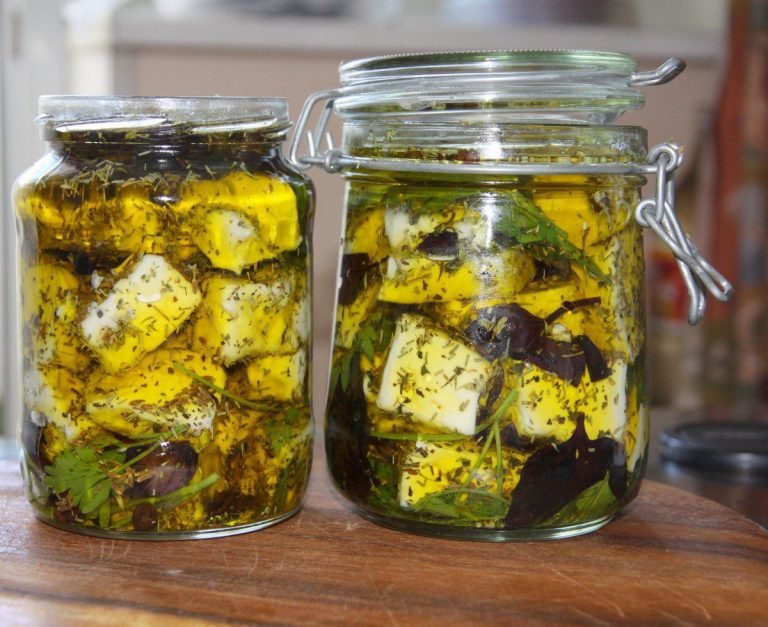 Pickled cheese in a jar