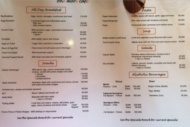 The menu of the institution in English