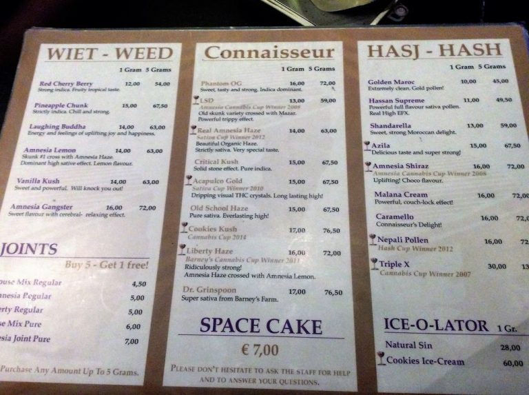 Amnesia Coffee Shop Menu