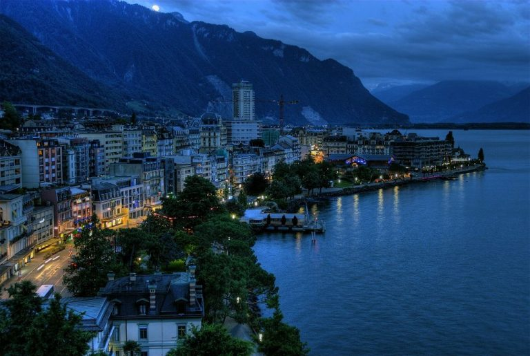 Montreux is surrounded by the Alps and Lake Geneva