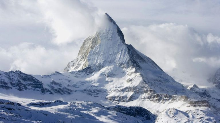 Mount Matterhorn is covered in snow