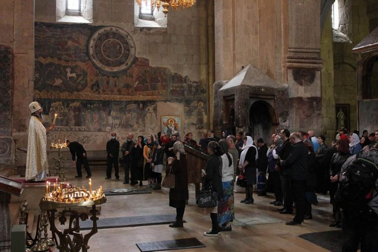 Service in the Svetitskhoveli temple in the city of Mtskheta
