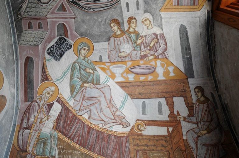 Fresco of the Nativity of the Virgin