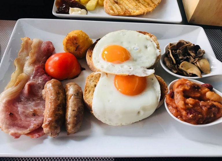 Plate with breakfast in a cafe