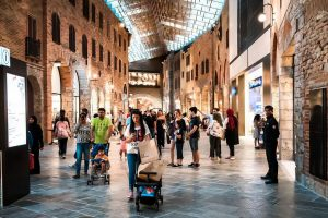 Shoppers at the outlet village in Dubai