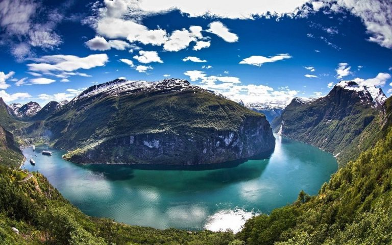 Panoramic view of the Geiranger Fjord