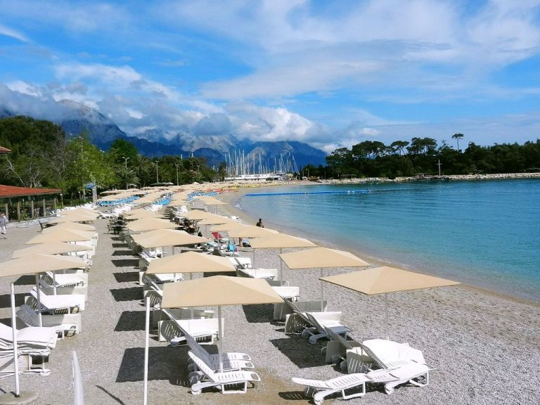 Pebble central beach in Kemer