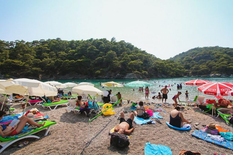 In high season, the beach is overloaded with tourists