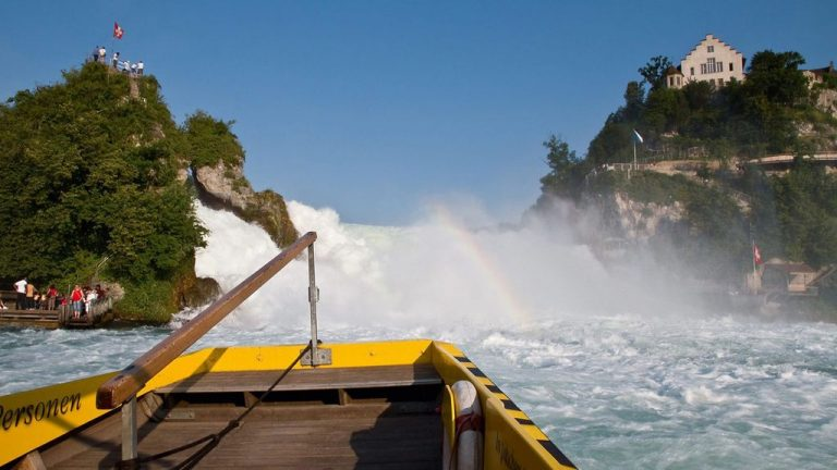 View of the Rhine Falls from a pleasure boat
