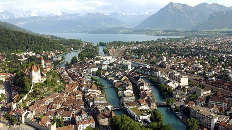 Thun city view from above