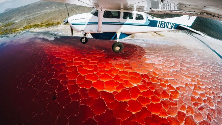 View of Lake Natron from an airplane