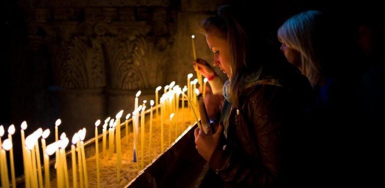 Prayers in the Church of the Holy Sepulcher