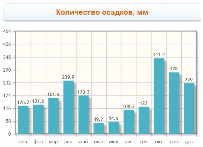 Monthly rainfall in the town
