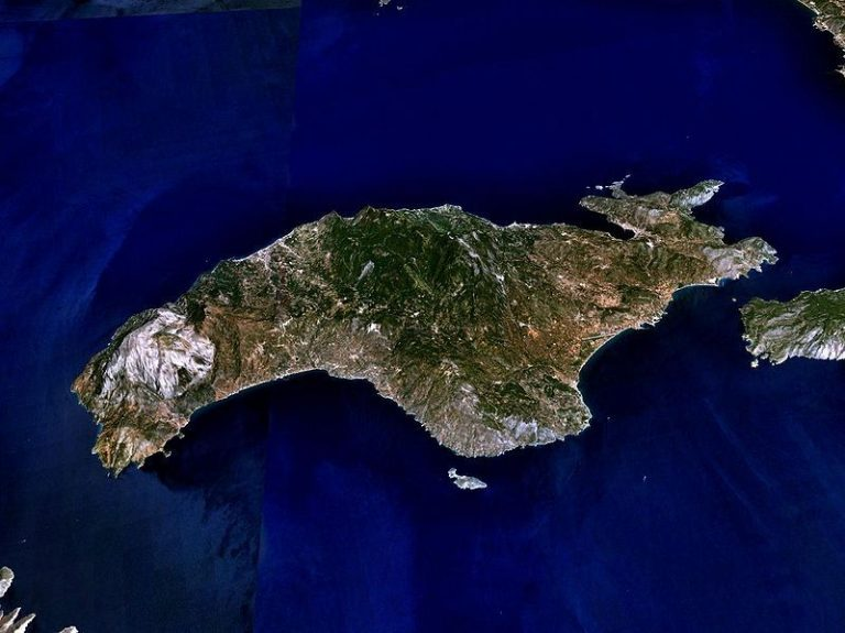 Satellite view of Samos island