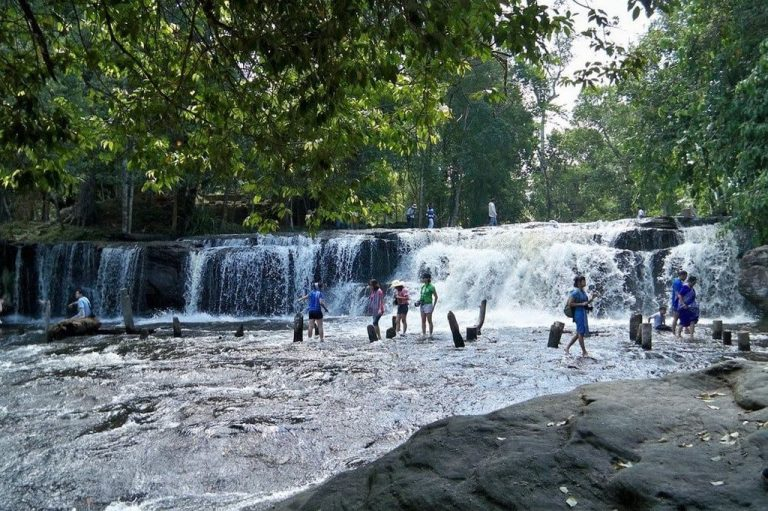 Waterfall in the park Phnom Kulen
