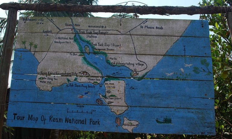 Signboard with map of Reim National Park