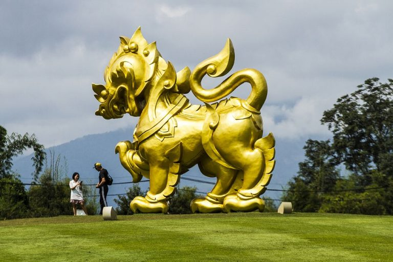 Sculpture of a huge golden lion