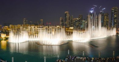 Singing fountains sprouting water in Dubai