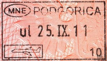 Stamp at the entrance to the country