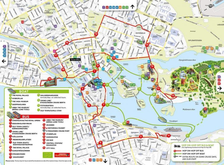 Map of bus and boat tours