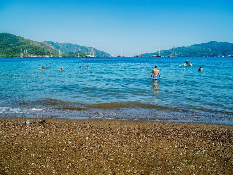 Sunset in the water of the central beach of Marmaris