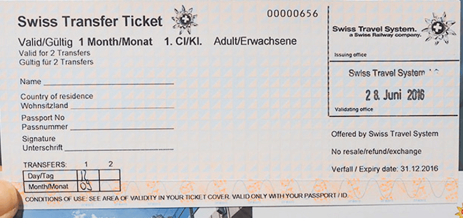 Swiss Transfer Ticket Example