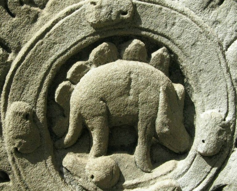 Temple of Ta Prohm bas-relief of a dinosaur