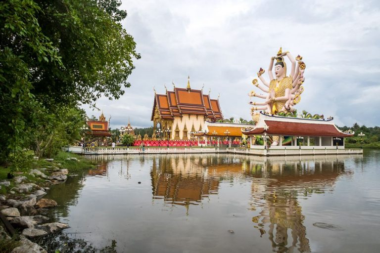 Artificial lake created around Wat Plai Laem
