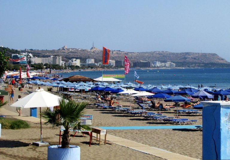 The main beach of Faliraki