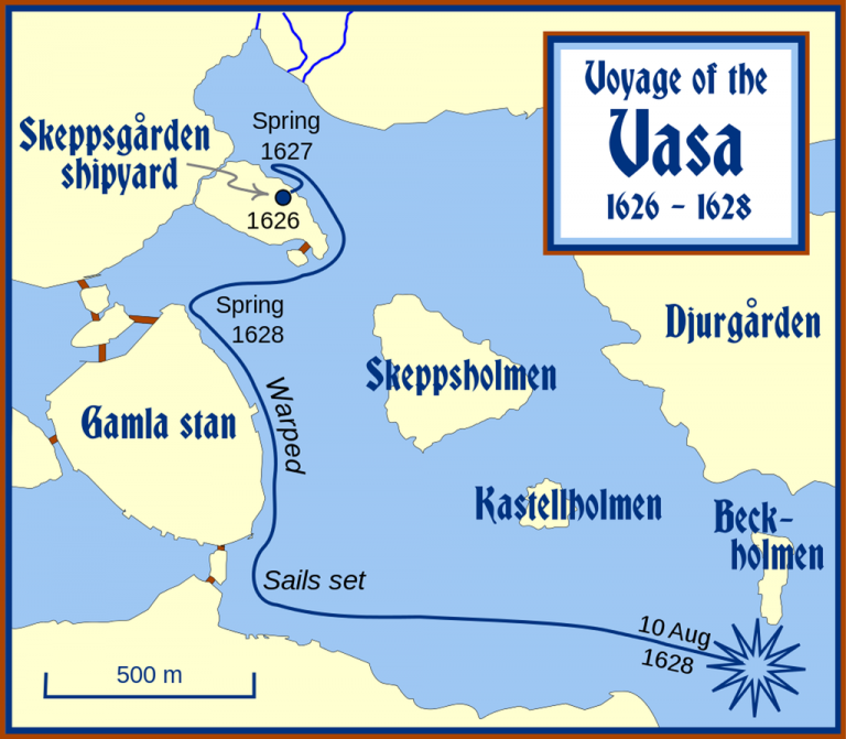 The place where the ship Vasa sank