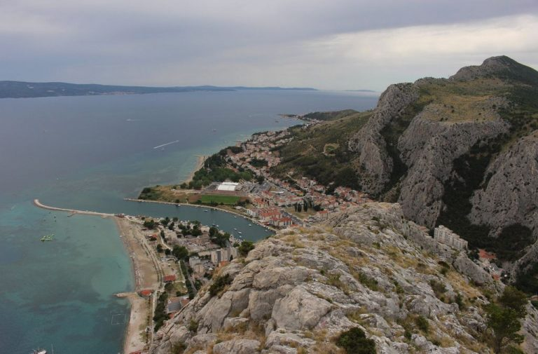 View from the Pirate Fortress to the city of Omis