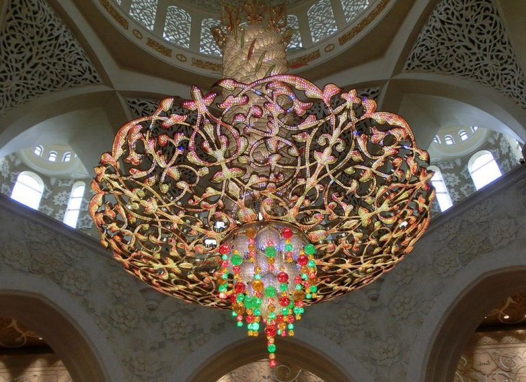 The second largest chandelier in the world inlaid with Swarovski crystals