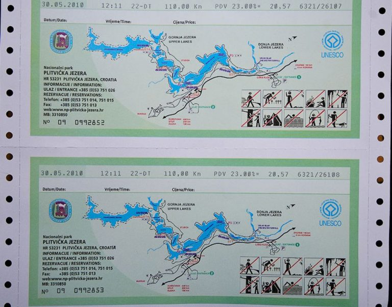 This is how tickets to the Plitvice Lakes Park look like.