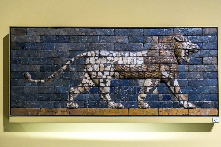 Lion with the Ishtar Gate in Babylon