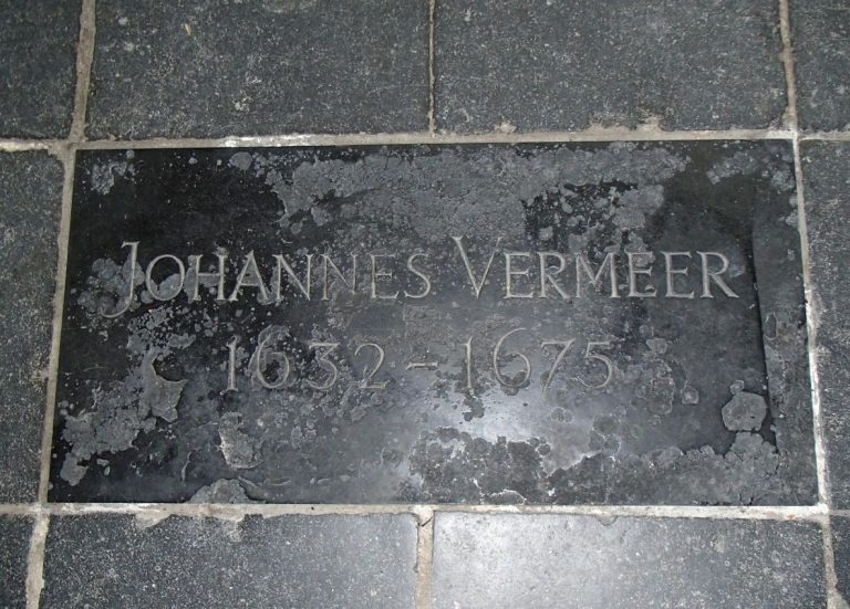 Tombstone of Jan Vermeer in the Old Church of Delft