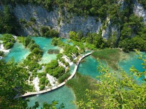 top view of Plitvice Lakes in Croatia
