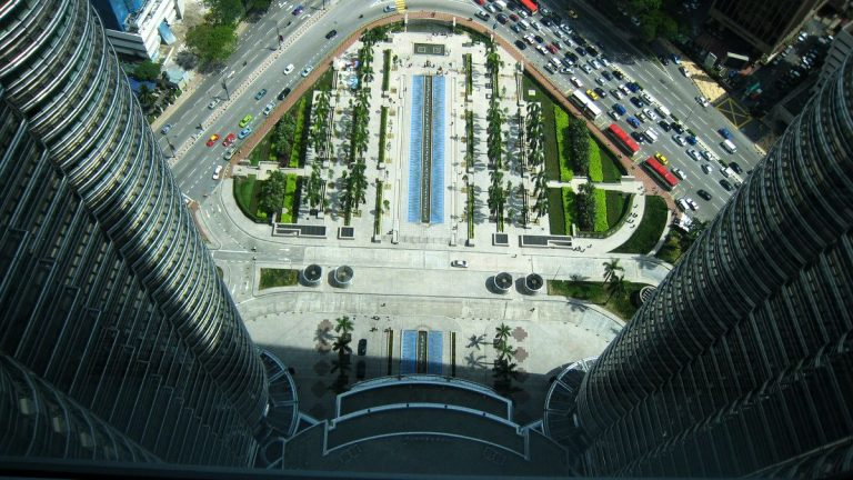 View down between the towers
