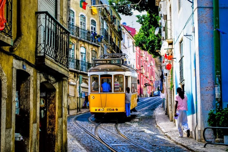 Tram number 28 - yellow Lisbon guide