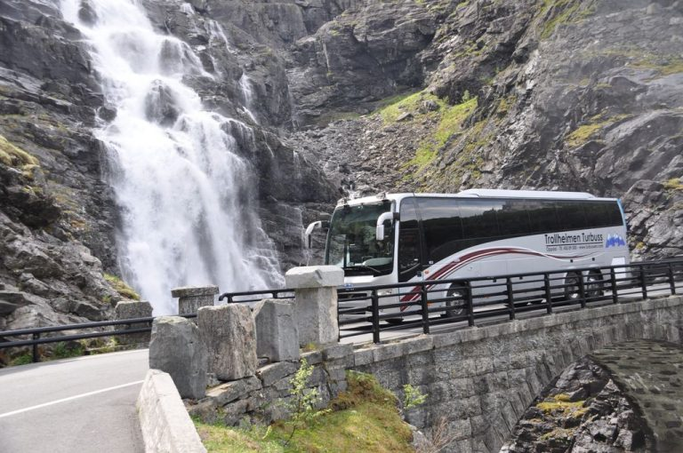 Bus near the waterfall