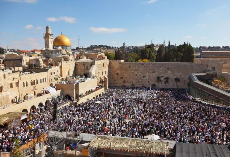 Many people at the Western Wall