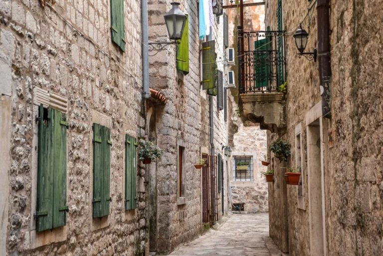 Stone houses on the street of the old city