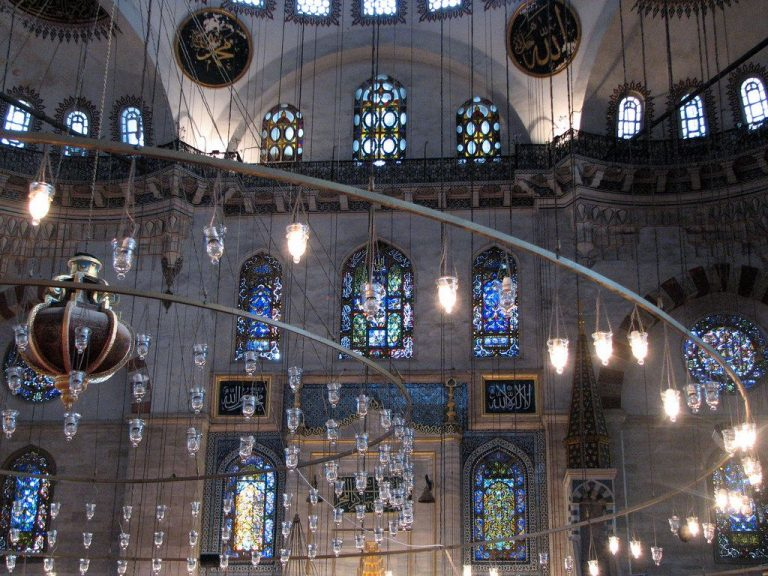 Windows and chandeliers of the Suleymaniye Mosque