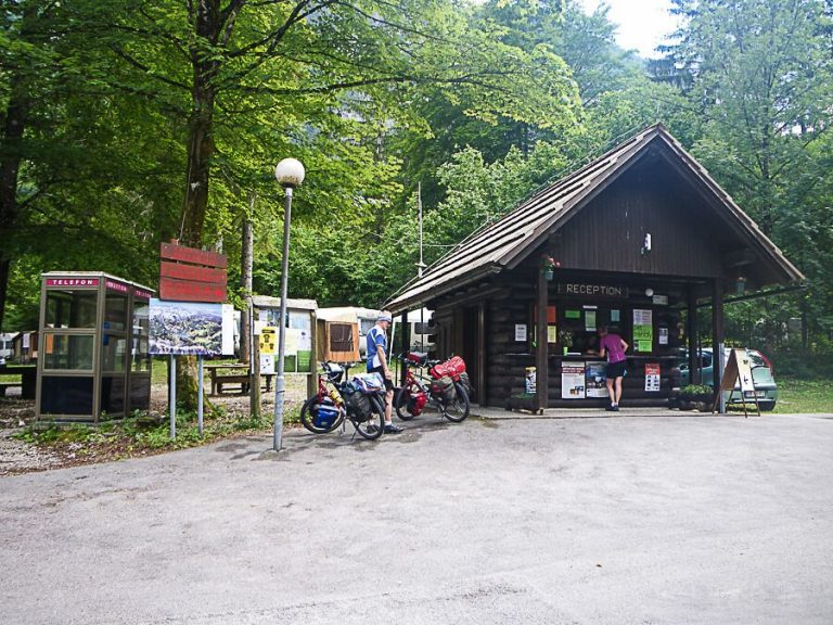 Camping in the southwestern part of Lake Bohinj in front of Ukants
