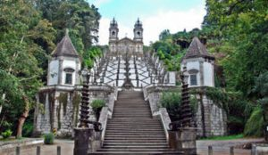 The stairs leading to sanctuary of Bom Jesus in Braga