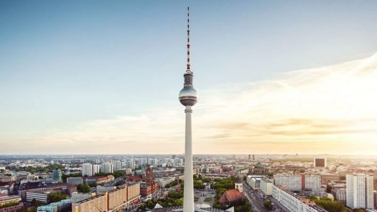 The top of the Berlin TV tower