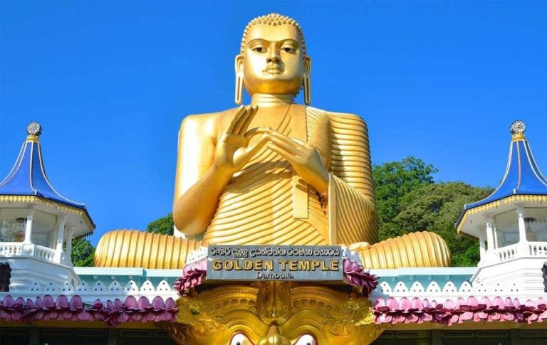 Statue of a seated Buddha in Dambulla