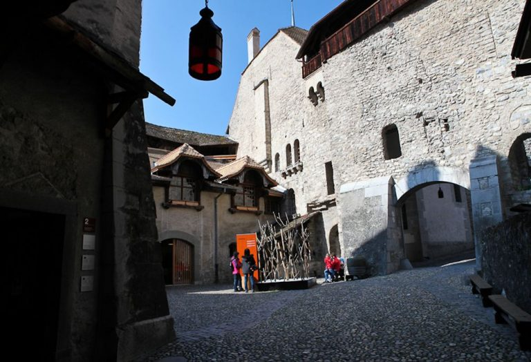First Courtyard of Chillon Castle