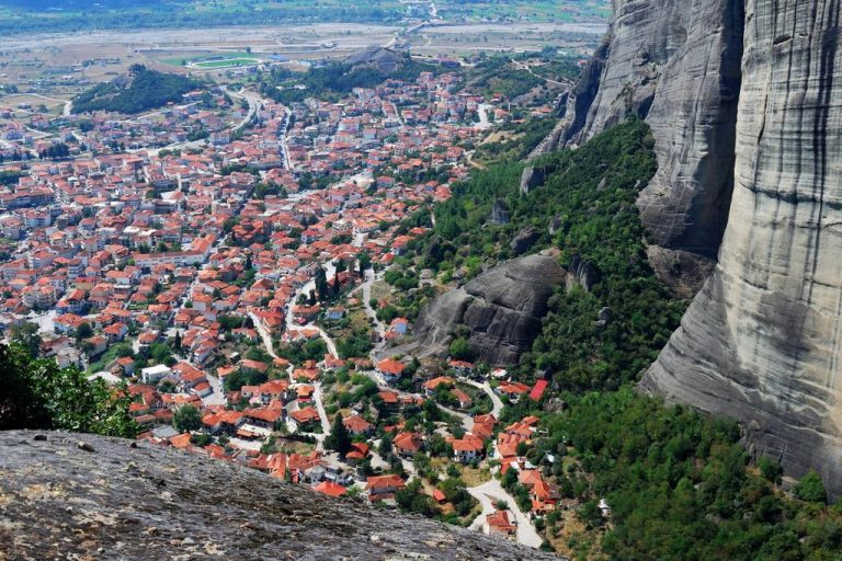 View of the city of Kalambaka from the Holy Trinity Monastery in Meteora